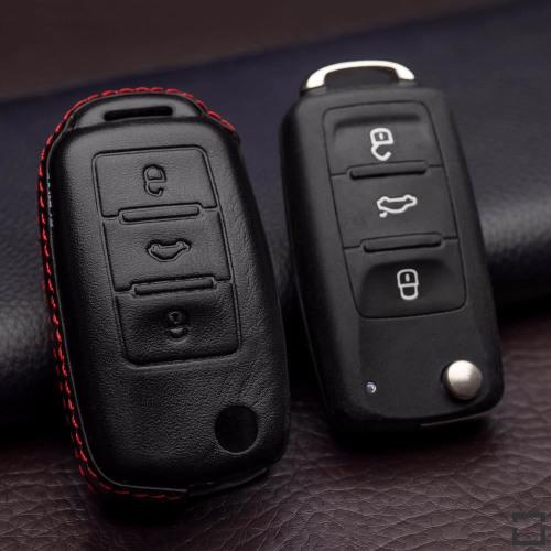 Leder Hartschalen Cover passend für Volkswagen, Skoda, Seat Schlüssel schwarz LEK48-V2
