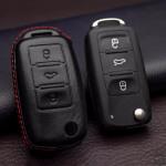 Leder Hartschalen Cover passend für Volkswagen, Skoda, Seat Schlüssel schwarz LEK48-V2-1
