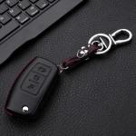 Leder Hartschalen Cover passend für Ford Schlüssel schwarz LEK48-F1-1