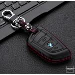 Leder Hartschalen Cover passend für BMW Schlüssel schwarz LEK48-B7
