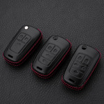 Leder Hartschalen Cover passend für Opel Schlüssel schwarz LEK48-OP6