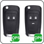 Leder Hartschalen Cover passend für Opel Schlüssel schwarz LEK48-OP6-1
