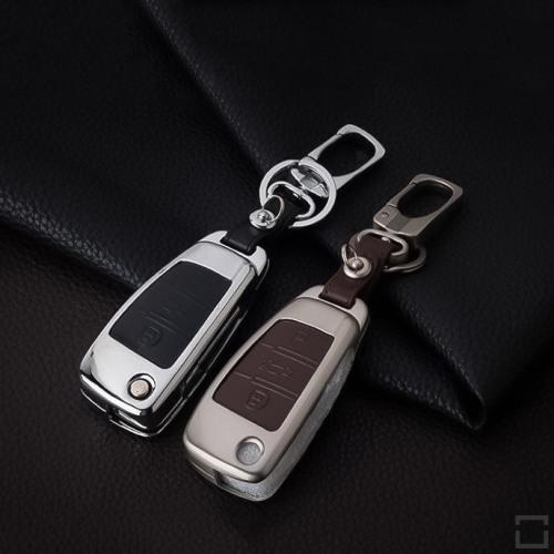 Alu Hartschalen Schlüssel Case passend für Audi Autoschlüssel  HEK2-AX3