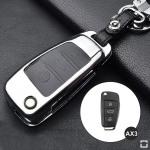 Alu Hartschalen Schlüssel Case passend für Audi Autoschlüssel chrom/schwarz HEK2-AX3-29