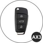 Alu Hartschalen Schlüssel Case passend für Audi Autoschlüssel champagner matt/braun HEK2-AX3-30