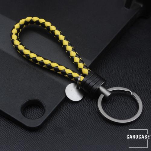 Schlüsselanhänger Lederband inkl. Schlüsselring anthrazit/schwarz-gelb SAR7-73