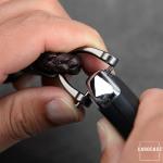 Leather strap, key chain anthracite/dark brown