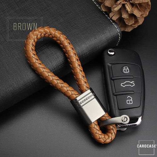 Leather strap, key chain anthracite/light brown