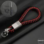 Schlüsselanhänger Lederband  SAR1- anthrazit/hellbraun