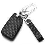 BLACK-ROSE Leder Schlüssel Cover für Volkswagen Schlüssel schwarz LEK4-V8X