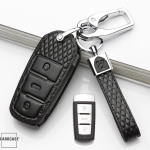 BLACK-ROSE Leder Schlüssel Cover für Volkswagen Schlüssel  LEK4-V5