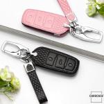 BLACK-ROSE Leder Schlüssel Cover für Volkswagen Schlüssel schwarz LEK4-V5
