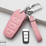 Lederetui für Volkswagen Autoschlüssel, Schlüsseltyp V5 rose pink