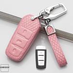 BLACK-ROSE Leder Schlüssel Cover für Volkswagen Schlüssel  LEK4-V6