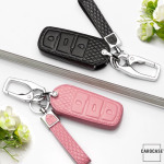Kopie von Lederetui für Volkswagen Autoschlüssel, Schlüsseltyp V6 rose pink