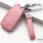 Lederetui für Audi Autoschlüssel, Schlüsseltyp AU6 rose pink