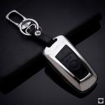 Alu Hartschalen Schlüssel Case passend für BMW Autoschlüssel chrom/schwarz HEK2-B4-29