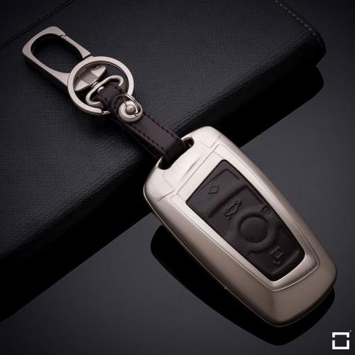 Alu Hartschalen Schlüssel Case passend für BMW Autoschlüssel champagner matt/braun HEK2-B5-30