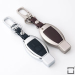 Alu Hartschalen Schlüssel Case passend für Mercedes-Benz Autoschlüssel chrom/schwarz HEK2-M8-29