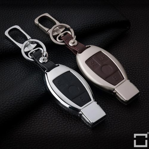 Schlüssel Cover Etui aus Alu für Mercedes-Benz Funkschlüssel M8 brown