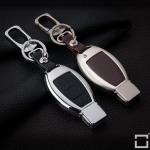 Alu Hartschalen Schlüssel Case passend für Mercedes-Benz Autoschlüssel champagner matt/braun HEK2-M8-30