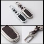 Alu Hartschalen Schlüssel Case passend für Audi Autoschlüssel chrom/schwarz HEK2-AX4-29