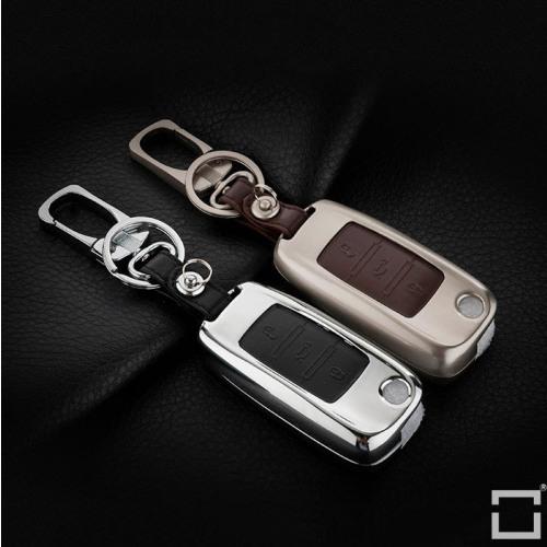 Alu Hartschalen Schlüssel Case passend für Volkswagen, Skoda, Seat Autoschlüssel  HEK2-V2