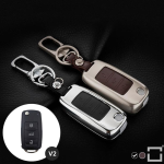 Alu Hartschalen Schlüssel Case passend für Volkswagen, Skoda, Seat Autoschlüssel chrom/schwarz HEK2-V2-29