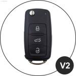 Alu Hartschalen Schlüssel Case passend für Volkswagen, Skoda, Seat Autoschlüssel champagner matt/braun HEK2-V2-30