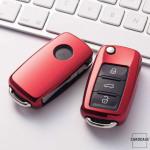 Glossy Silikon Schutzhülle / Cover passend für Volkswagen, Skoda, Seat Autoschlüssel V2