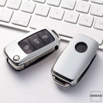 Glossy key case/cover for Volkswagen, Skoda, Seat remote keys silver SEK2-V2-15