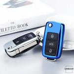 Glossy Silikon Schutzhülle / Cover passend für Volkswagen, Skoda, Seat Autoschlüssel V2 silber