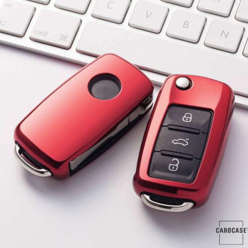 Glossy Silikon Schutzhülle / Cover passend für Volkswagen, Skoda, Seat Autoschlüssel V2 rot