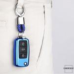 Glossy Silikon Schutzhülle / Cover passend für Volkswagen, Skoda, Seat Autoschlüssel V2 blau