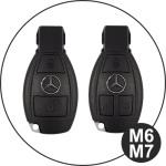 Glossy Silikon Schutzhülle / Cover passend für Mercedes-Benz Autoschlüssel M6, M7 schwarz