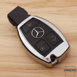 Glossy key case/cover for Mercedes-Benz remote keys silver SEK2-M7-15