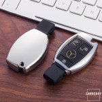 Glossy Silikon Schutzhülle / Cover passend für Mercedes-Benz Autoschlüssel M6, M7 silber