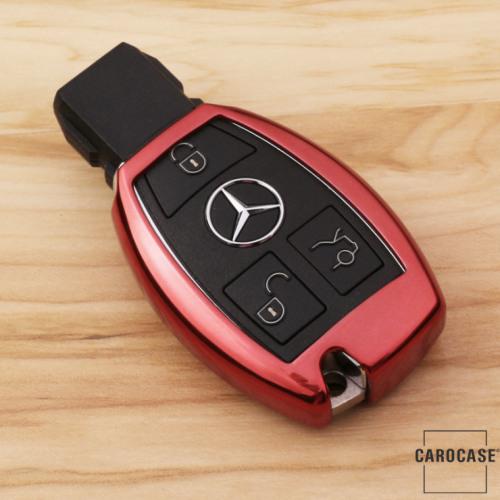 Glossy Silikon Schutzhülle / Cover passend für Mercedes-Benz Autoschlüssel M6, M7 rot