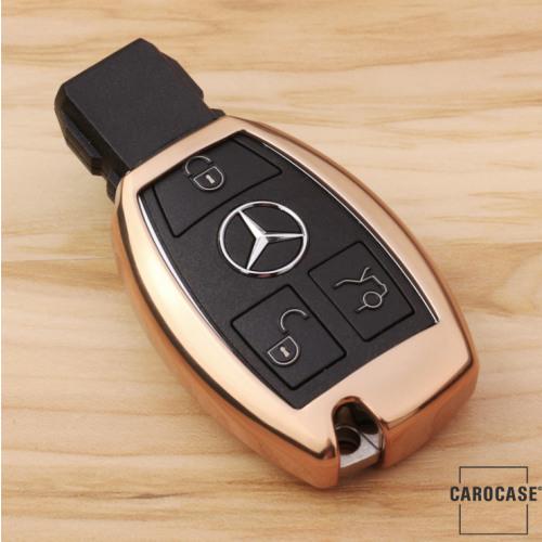 Glossy key case/cover for Mercedes-Benz remote keys gold SEK2-M7-16