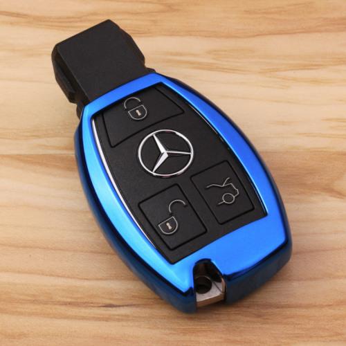 Glossy Silikon Schutzhülle / Cover passend für Mercedes-Benz Autoschlüssel M6, M7 blau