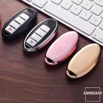 Glossy Silikon Schutzhülle / Cover passend für Nissan Autoschlüssel N5, N6, N7, N8, N9 schwarz
