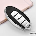 Glossy Silikon Schutzhülle / Cover passend für Nissan Autoschlüssel N5, N6, N7, N8, N9 silber