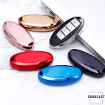 Glossy Silikon Schutzhülle / Cover passend für Nissan Autoschlüssel N5, N6, N7, N8, N9 blau