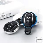 Glossy Silikon Schutzhülle / Cover passend für MINI Autoschlüssel MC3 silber