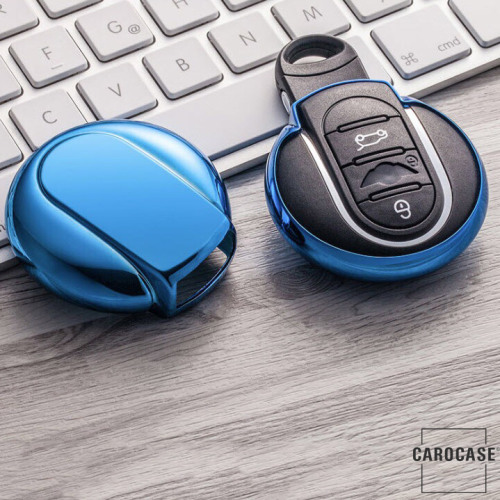 Glossy Silikon Schutzhülle / Cover passend für MINI Autoschlüssel MC3 blau
