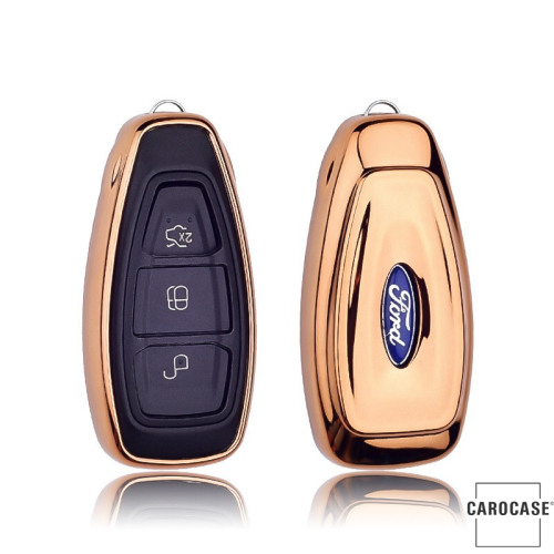 Glossy key case/cover for Ford remote keys gold SEK2-F5-16