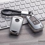 Glossy Silikon Schutzhülle / Cover passend für Opel Autoschlüssel OP6, OP7, OP8, OP5 silber