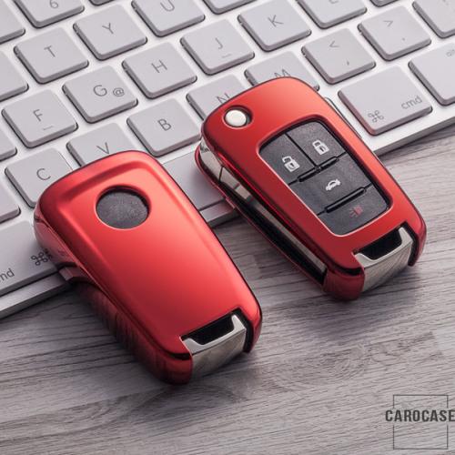 Glossy Silikon Schutzhülle / Cover passend für Opel Autoschlüssel OP6, OP7, OP8, OP5 rot