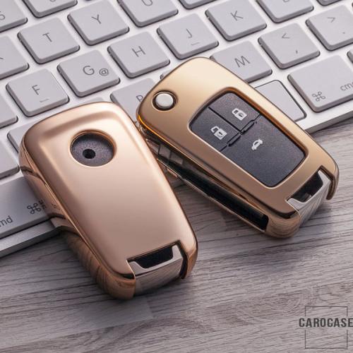 Glossy Silikon Schutzhülle / Cover passend für Opel Autoschlüssel OP6, OP7, OP8, OP5 gold