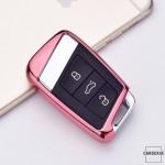 Glossy Silikon Schutzhülle / Cover passend für Volkswagen, Skoda, Seat Autoschlüssel V4